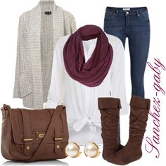 Brown boots & a purple scarf