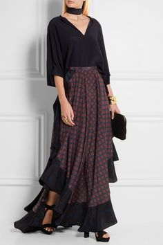 LANVIN Asymmetric ruffled printed silk maxi skirt$4,130