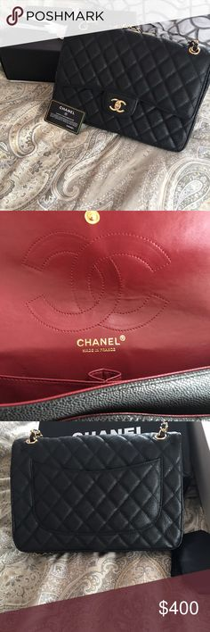 Double flap, jumbo handbag Mirror image of a Chanel double flap handbag. Great quality. Looks exactly like the authentic handbag. Comes with dust bag, bag, box and ribbon. Bag was given as a gift. I received multiple complements. Many people looked at it assuming it was the real thing. Bags Shoulder Bags