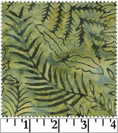 Green Leaves Ferns Batik by Galaxy Fabric, Cotton Batik Fabric, Quilting Fabric by the Yard