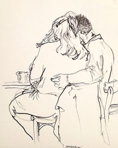 mountvision:    A student couple reading together in the Hungarian Cafe, nyc. bamboo and ink Gregory Muenzen