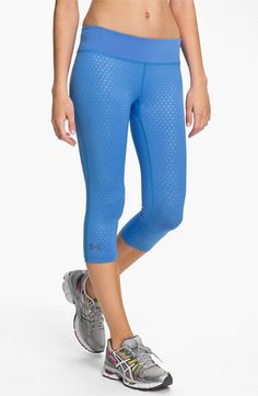 Under Armour 'Sonic' Print Running Capris. Ummmmm. Love. This color is amazing. It's called Water. This color I believe is sold only at Nordstrom, but the other colors are sold at @Under Armour website.