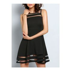 SheIn(sheinside) Black With Sheer Mesh Flare Flapper Dress (€6,26) ❤ liked on Polyvore featuring dresses, black, gatsby party dress, black flapper dress, sleeveless skater dress, skater dress ve short party dresses