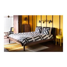STOCKHOLM Bed frame IKEA Natural materials such as solid wood and leather make the bed age beautifully.