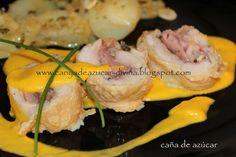 Muslo y contra muslo de pollo relleno con salsa