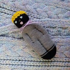 Lavender Filled Handmade Sock Doll Black and Grey w\Yellow Hat Blue Eyes
