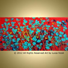 Art: Aqua Green POPPIES Orange SUNSET by Artist LUIZA VIZOLI