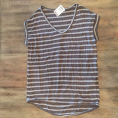 Sale- Tan and brown striped shirt Tan and brown striped v neck shirt Tahari Tops