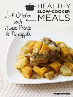 This tropically-influenced dish pairs jerk-seasoned chicken breasts with sweet potato and pineapple. It's a fabulous combination of sweet and spice!