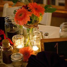 Gerbera Daisy and Mason Jar Table Decor