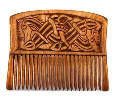 TabernaVagantis Pologne  Peigne en bois Viking avec deux dragons