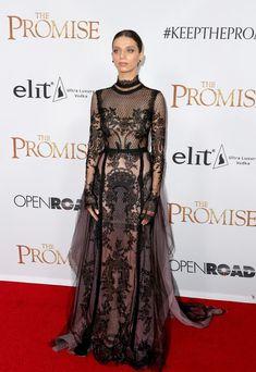Angela Sarafyan In Reem Acra – 'The Promise' LA Premiere