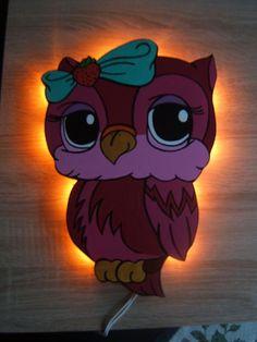 Eule supersüß Schlummerlicht Wandlampe von Nikki´s Lampenwelt auf DaWanda.com