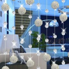 Online Shop Crystal bead curtains iron wire ball entranceway home decoration curtains diy finished products door curtains No Sew Curtains, Cheap Curtains, Drop Cloth Curtains, Boho Curtains, Kids Curtains, Burlap Curtains, Beaded Curtains, Colorful Curtains, Hanging Curtains