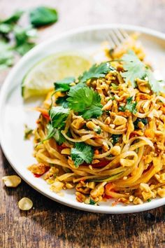 This pad Thai is bulked up with ~healthy~ swirls of spiralized bell pepper, zucchini, carrot, and onions. Get the recipe here.