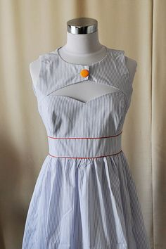 Ahoy Sailor Dress  Navy Blue and White Pin by vivatveritas