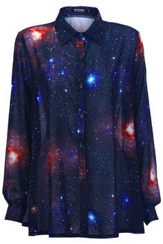 Universe Print Loose Shirt #ROMWE