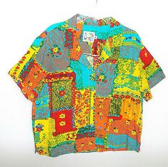 Jams World shirt M Peasante cruise Ladies top 100% crinkle rayon button front