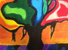 Black tempera and oil pastels