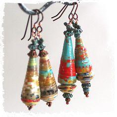 Greek Birdie Pendant Earrings - Funky Greek Bird Paper Bead Dangle Earrings. $28. Links to Etsy. Pinned by CraftsCrazy.