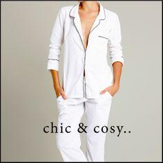 The Coco classic Pj set…timeless man-style PJ set in crisp white poplin with black piping, breast & side pockets. Tailored beautifully for maximum comfort & style. 100% super soft cotton, genuine shell buttons, grosgrain waist cord tie & waistband lined in grosgrain trim - chic & cosy!