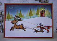 Lawn Fawn - Critters in the Snow, Winter Bunny, Let it Snow, Home Sweet Home _ perfect little scene by Lizzy atThis Haus of Cards: Dashing Through the Snow