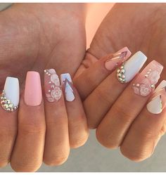 Find images and videos about pink, white and nails on We Heart It - the app to get lost in what you love. Glam Nails, Hot Nails, Pink Nails, Glitter Nails, Beauty Nails, Hair And Nails, Beautiful Nail Designs, Cute Nail Designs, Beautiful Images