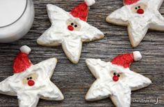Make decorated Santa cookies with star-shaped cookie cutters