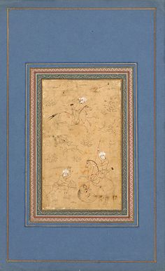 شکارگاه، شیوه محمدی هروی، 1580 میلادی، دوره صفوی A Hunting Scene Geography Iran Period Safavid, circa 1580 CE Dynasty Safavid Materials and technique Ink, opaque watercolour and gold on paper Dimensions 33.8 x 20.7 cm
