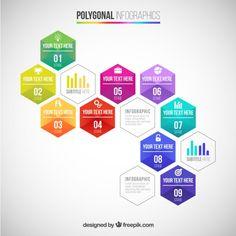 Infografía poligonal Vector Gratis