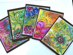 This set of 4 beautifully print from my original Art work and ilustrations come together in this set of four blank note cards and four matching