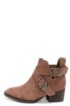 Bronco 11 Taupe Suede Cutout Ankle Boots at LuLus.com!
