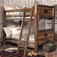 Rustic bedroom furniture log bed mission beds burl wood for Log cabin style bunk beds