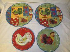 Set of 4 Certified International Round Rooster Plates Susan Winget Quilt Dinner #Certifiedinternational