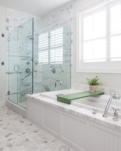 Chic frameless glass shower doors in Beach Style Orange County with White And Gray Granite next to Tub Shower Tile alongside Frameless Glass Shower Door and Bathroom Window Treatment