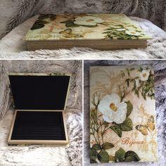 Boîte à bijoux FLEUR  Tissu extérieur effet satin - Tissu intérieur effet velours - Compartiment intérieur détachable - Ouverture aimantée   29.90€