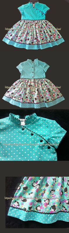 Vestido bonequinha chinesa - 3/4 anos - - - - - -Chinese doll dress - 3/4 years- - - - - baby - infant - toddler - kids - clothes for girls - - - https://www.facebook.com/dona.fada.moda.para.fadinhas/