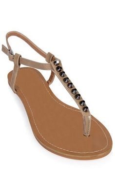 Deb Shops t strap #sandal with hammered #stud accents