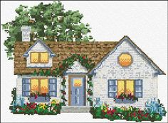 free cross stitch house -- nice idea for mom?