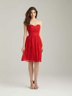 Short, red lace A-line bridesmaid dress with strapless, sweetheart ruched bodice by @allurebridals