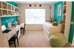 Twin desks share a printer. Open shelves, turquoise accents and a comfy bench by K Hovnanian Homes Jarvis Creek Club, Hilton Head Island, SC. Study Nook, Kids Study, Study Space, Interior Exterior, Interior Design, Open Shelving, My Dream Home, Room Inspiration, Living Area