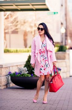 cute & little blog | petite fashion | pink waterfall drape coat, pink floral dress, pink suede pumps, red bag | valentine's day outfit inspiration