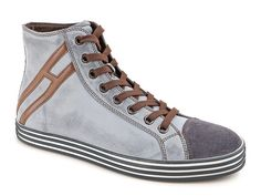 Hogan Rebel High-top Sneaker R141 in worn-effect leather - Italian Boutique €182