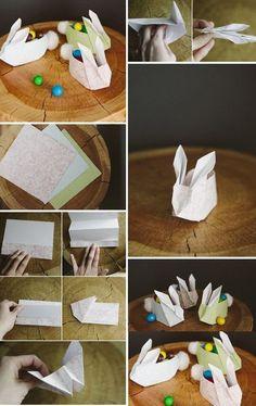 Cestinha de páscoa Coelho de Origami Passo a Passo. #artesanato #artesanatobrasil #pascoa #coelho #origami #passoapasso #façavocemesma