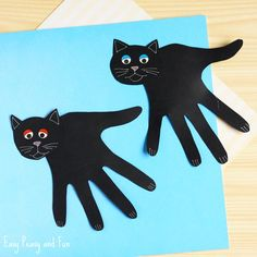 Handprint Black Cat Craft Halloween