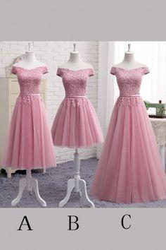 Floor length Evening Dresses, Pink Tea-length Prom Dresses, Tea-length Long Homecoming Dresses, Cute A Line Lace Off Shoulder Prom Dress,Lace Evening Dresses,Pink Junior Homecoming Dresses WF01G44-6