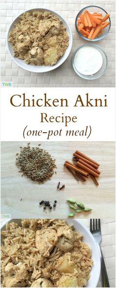 Hoender-akni   Kos   Chicken Recipes, Chicken, Indian food ...