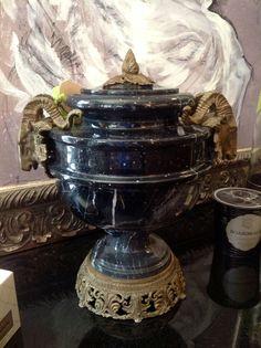 Marble Urn w/ Ram Heads $350.00