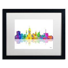 Lansing Michigan Skyline by Marlene Watson Framed Graphic Art