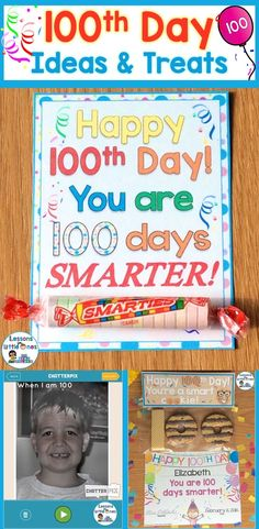 100th Day of School Ideas & Treats / Snacks Suggestions including crafts, ideas for incorporating free apps & technology, personalized & commemorative mementos, & more. https://lessons4littleones.com/2017/01/10/100th-day-of-school-ideas-treats/